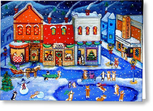 Corgis Greeting Cards - Corgi Christmas Town Greeting Card by Lyn Cook