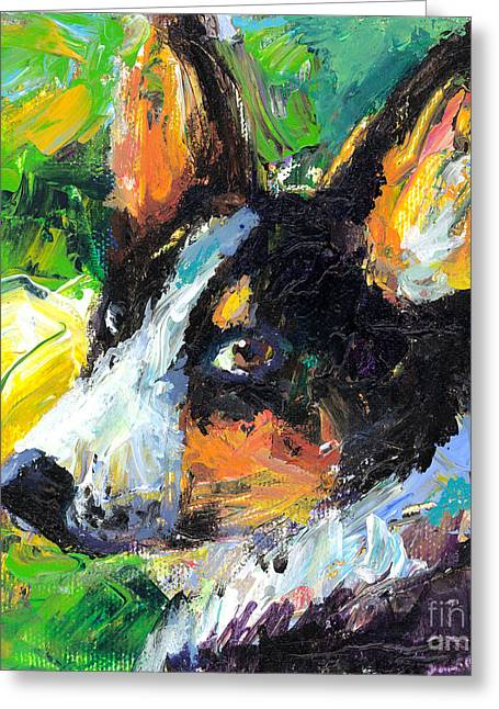 Corgis Greeting Cards - Corgi Dog portrait Greeting Card by Svetlana Novikova