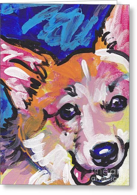 Dog Portraits Greeting Cards - Corgi Luv Greeting Card by Lea
