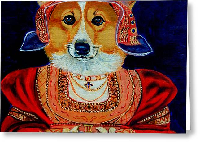 Corgi Queen Greeting Card by Lyn Cook
