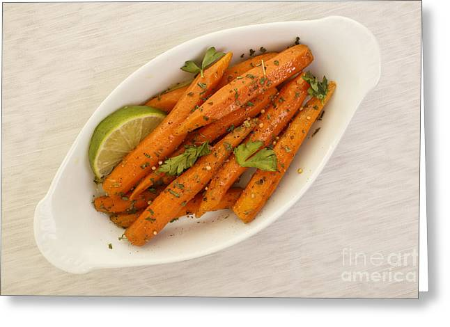 Healthy Vegetables Greeting Cards - Coriander Roasted Carrots Greeting Card by Edward Fielding