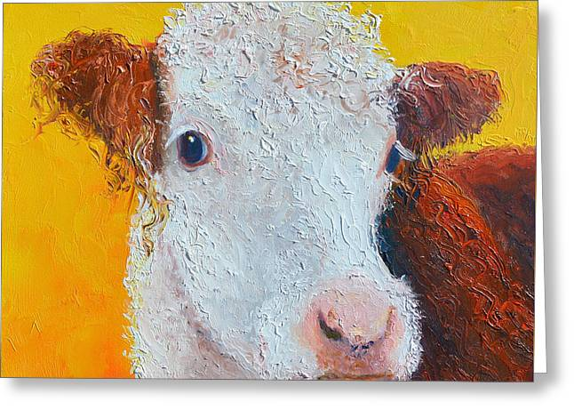 Cow Greeting Cards - Coriander the Cow Greeting Card by Jan Matson