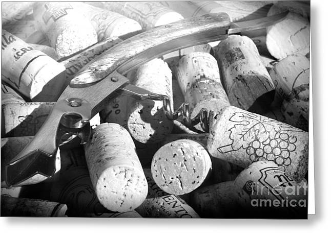 Winetasting Greeting Cards - Corks and pull corkscrew Greeting Card by Stefano Senise