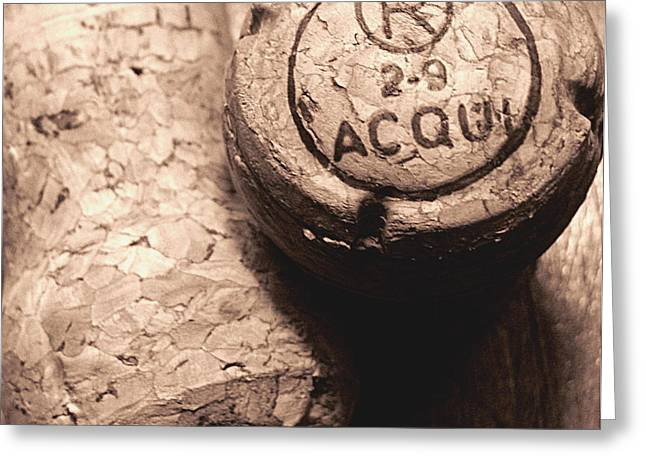 Original Photographs Greeting Cards - Corks in Sepia Tone Greeting Card by Colleen Kammerer