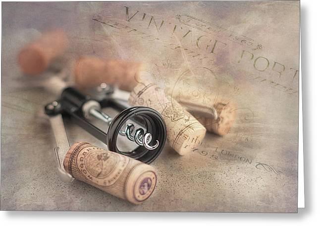 Corkscrew And Wine Corks Greeting Card by Tom Mc Nemar