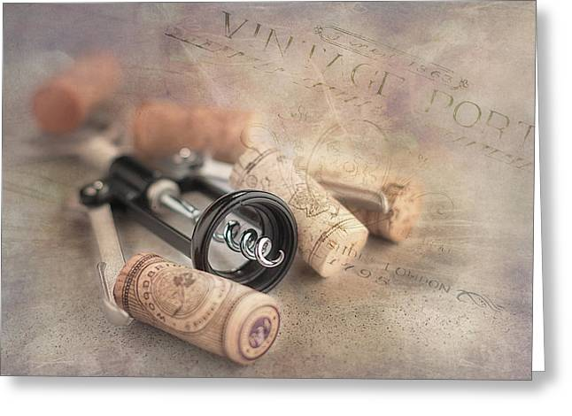 Kitchen Utensils Greeting Cards - Corkscrew and Wine Corks Greeting Card by Tom Mc Nemar