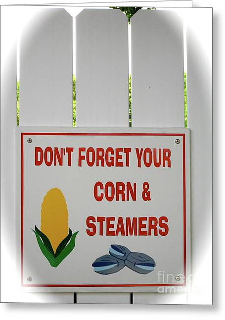 White Steamer Photos Greeting Cards - Corn and Steamers Greeting Card by Beth Saffer