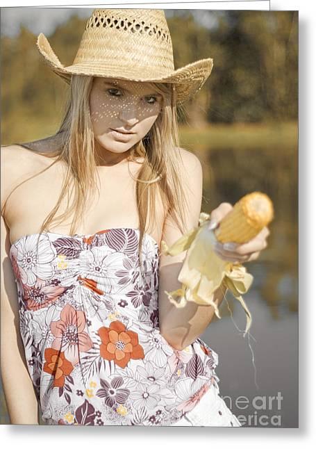 Pretty Cowgirl Greeting Cards - Corn Cob Cowgirl Greeting Card by Ryan Jorgensen