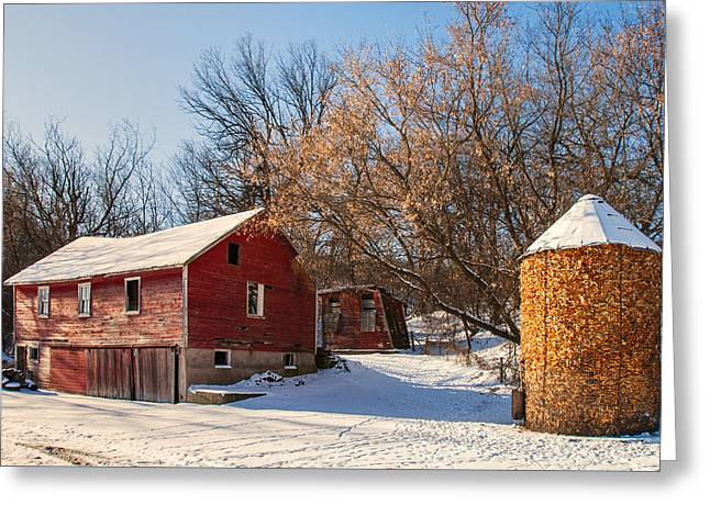 Corn Cribbed Barn Greeting Card by Todd Klassy