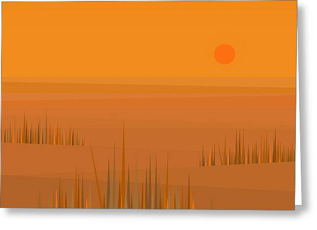 Minimalist Landscape Greeting Cards - Corn Field Sunset Greeting Card by Val Arie