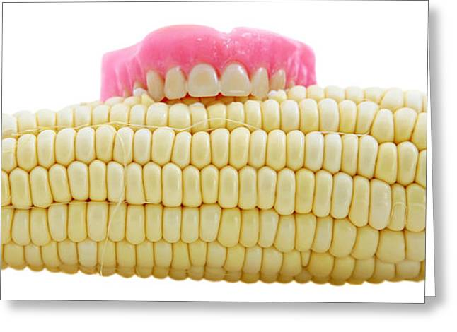 Prosthetic Greeting Cards - Corn On The Cob With False Teeth  Greeting Card by Michael Ledray