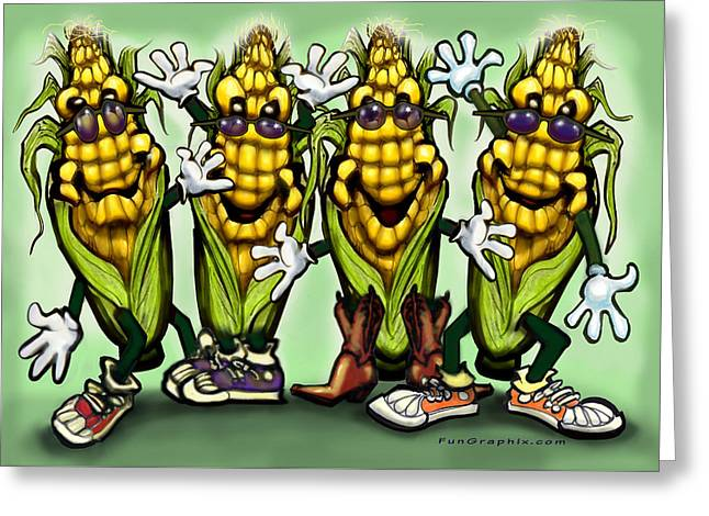 Humor Greeting Cards - Corn Party Greeting Card by Kevin Middleton