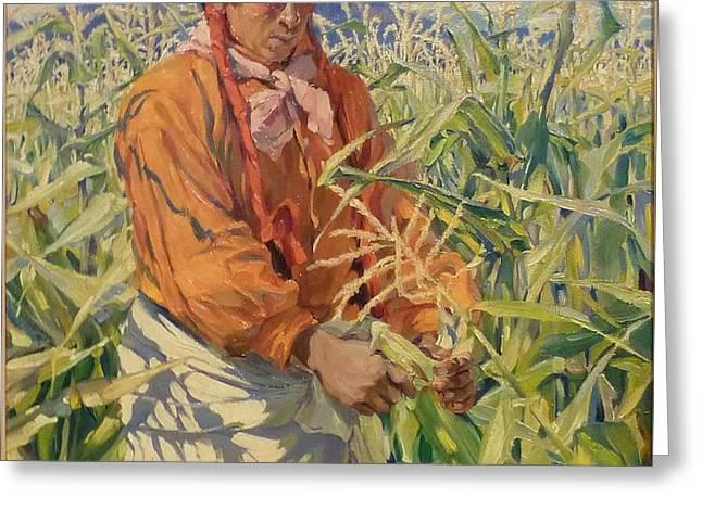 Corn Picker 1915 Greeting Card by Walter Ufer