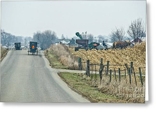 Corn Picker Greeting Cards - Corn Pickers Greeting Card by David Arment