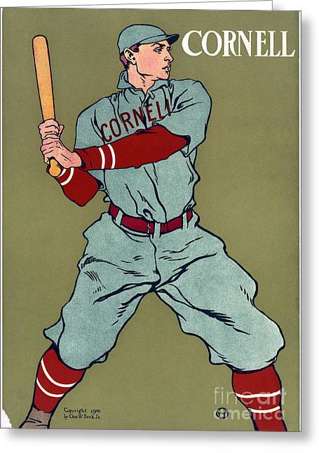 Baseball Uniform Paintings Greeting Cards - Cornell Baseball Greeting Card by Granger