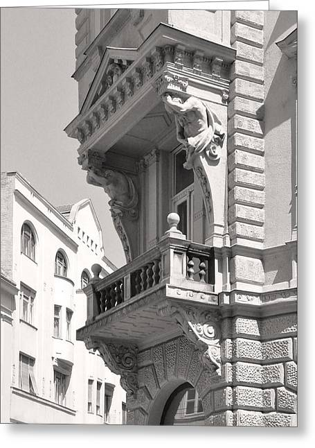 Belles Sculptures Greeting Cards - Corner Balcony with Figure Sculpture Budapest Greeting Card by James Dougherty