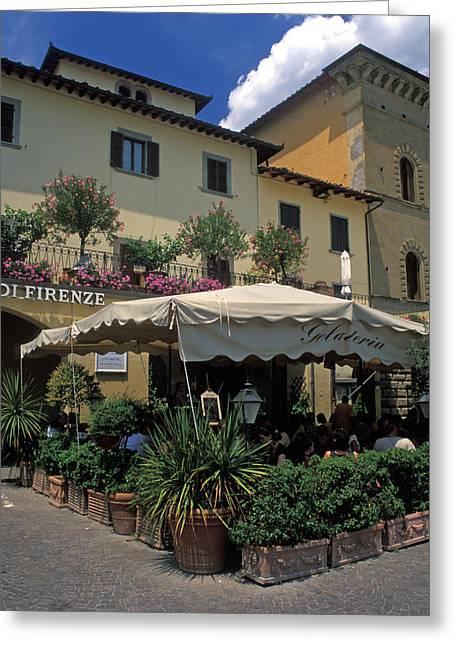 Chianti Greeting Cards - Corner Gelateria Greeting Card by Kathy Yates