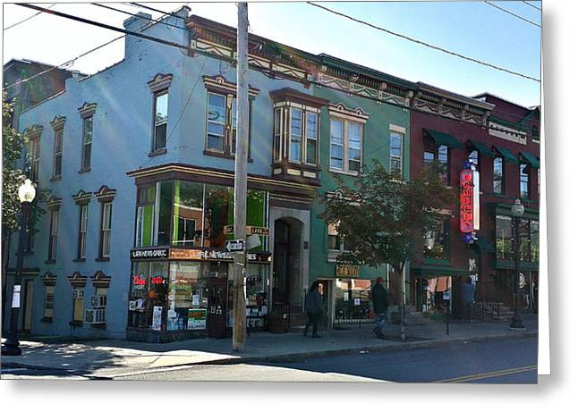 Streetview Greeting Cards - Corner Lark and Jay Streets Greeting Card by Mark Victors