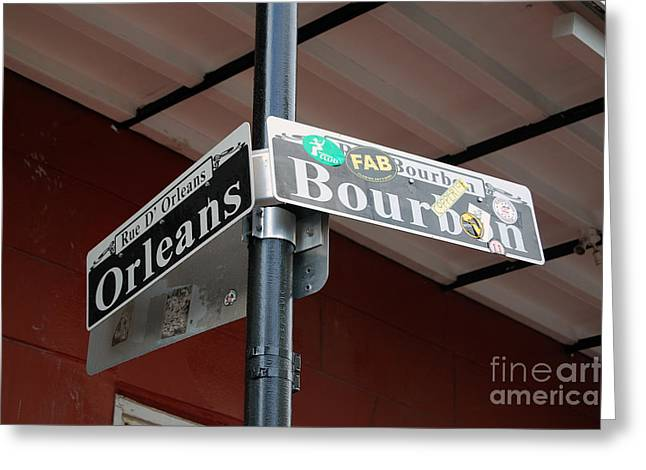 Travelpixpro Greeting Cards - Corner of Bourbon Street and Orleans Sign French Quarter New Orleans Greeting Card by Shawn O