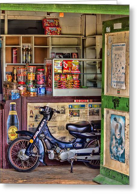 Caribbean Corner Greeting Cards - Corner Shop Greeting Card by Nadia Sanowar