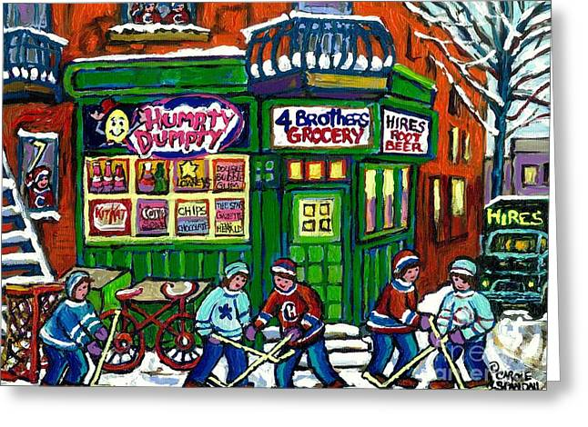 Grocery Store Greeting Cards - Corner Store Paintings Vintage Grocery Humpty Dumpty 4 Brothers Hires Root Beer Truck Canadian Art Greeting Card by Carole Spandau