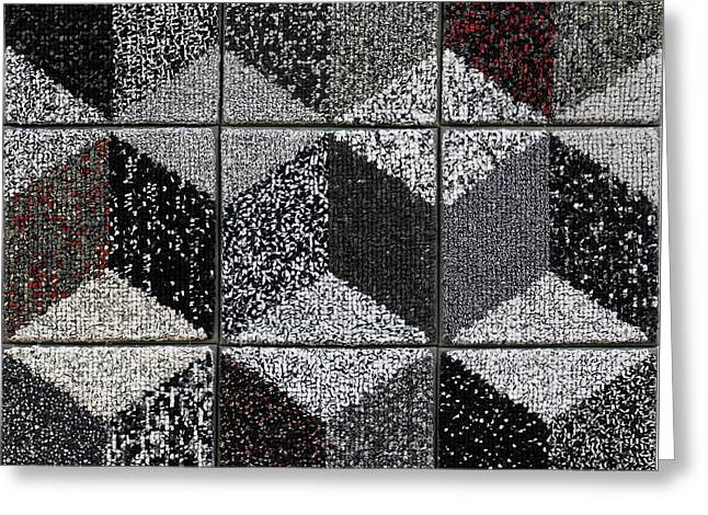 Black-and-white Tapestries - Textiles Greeting Cards - Cornerstone Greeting Card by Marilyn Henrion