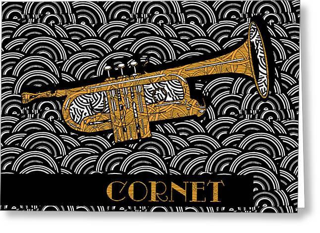 Don Cherry Greeting Cards - Cornet Chords Greeting Card by Cecely Bloom