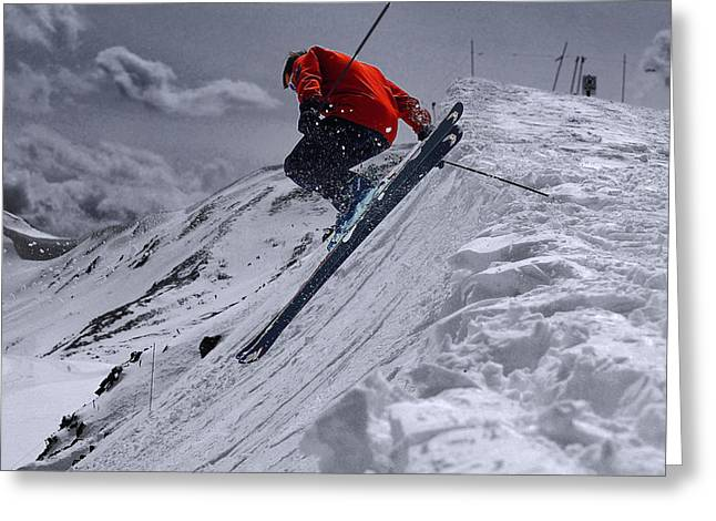 Alpine Skiing Greeting Cards - Cornice Leap Greeting Card by Kevin Munro