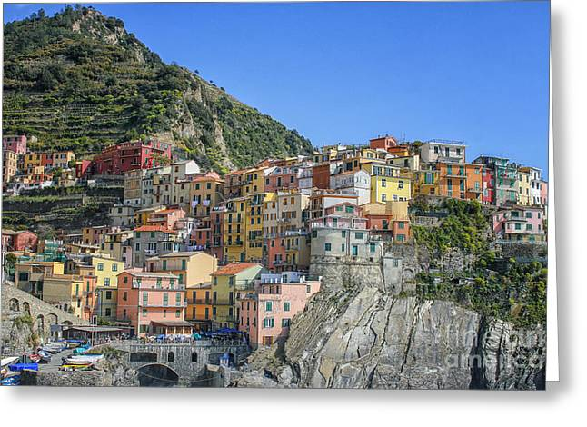 Italian Restaurant Greeting Cards - Corniglia in Italy Greeting Card by Patricia Hofmeester