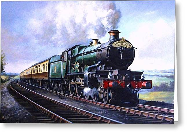 Railway Locomotive Greeting Cards - Cornish Riviera Express. Greeting Card by Mike  Jeffries