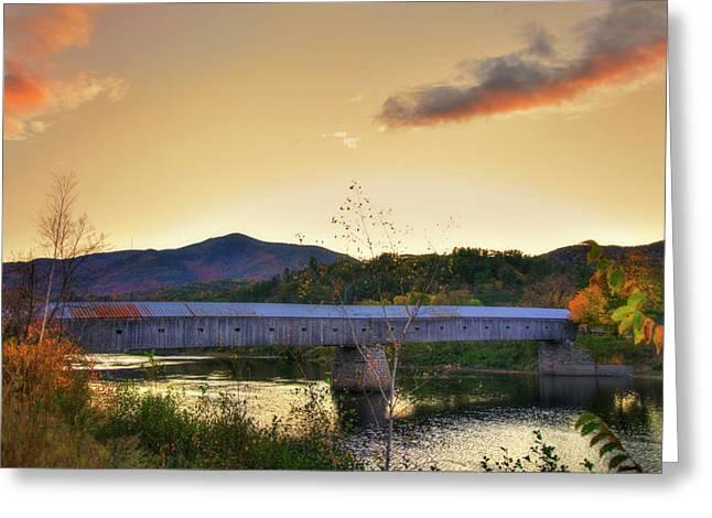 Cornish Windsor Covered Bridge In Autumn Greeting Card by Joann Vitali