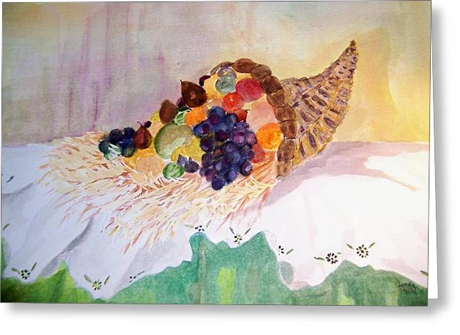 Cornucopia Greeting Card by Jacqueline Coote