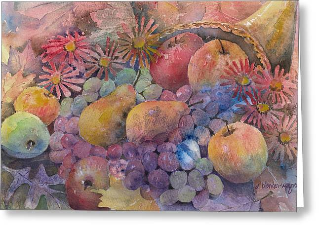 Apple Paintings Greeting Cards - Cornucopia Of Fruit Greeting Card by Arline Wagner