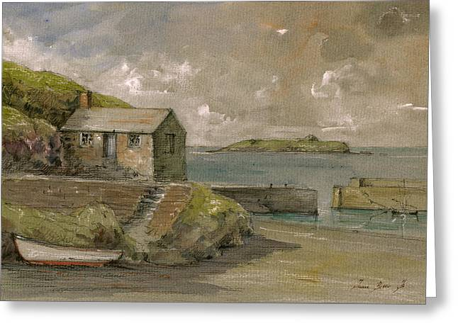 Cape Cornwall Greeting Cards - Cornwall Mullion Cove harbour Lizard -English Channel - Greeting Card by Juan  Bosco