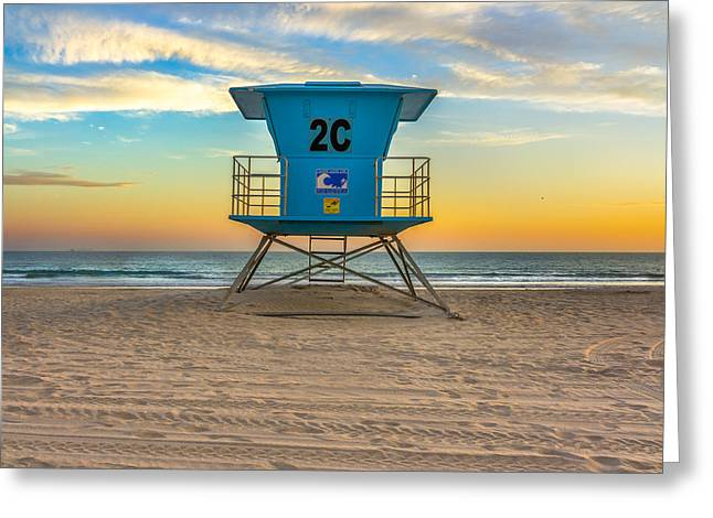 Coronado Beach Lifeguard Tower At Sunset Greeting Card by James Udall
