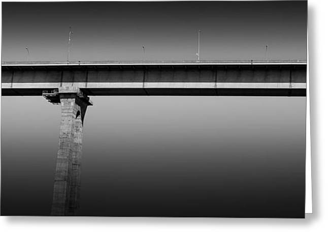 Abstract Digital Photographs Greeting Cards - Coronado Bridge Panoramic Greeting Card by Alex Snay