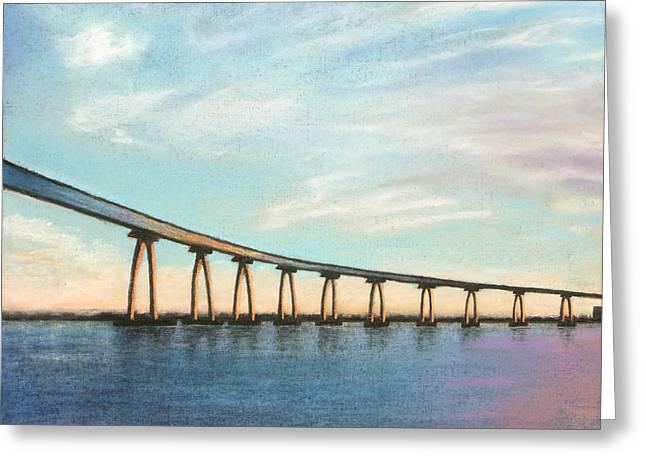 Scenic Pastels Greeting Cards - Coronado Bridge Sunset A Greeting Card by Michael Heikkinen