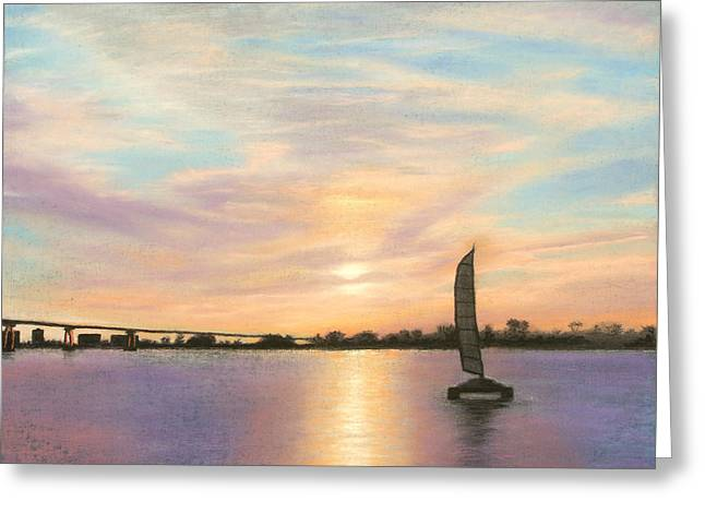 Ocean Sailing Pastels Greeting Cards - Coronado Bridge Sunset  B Greeting Card by Michael Heikkinen