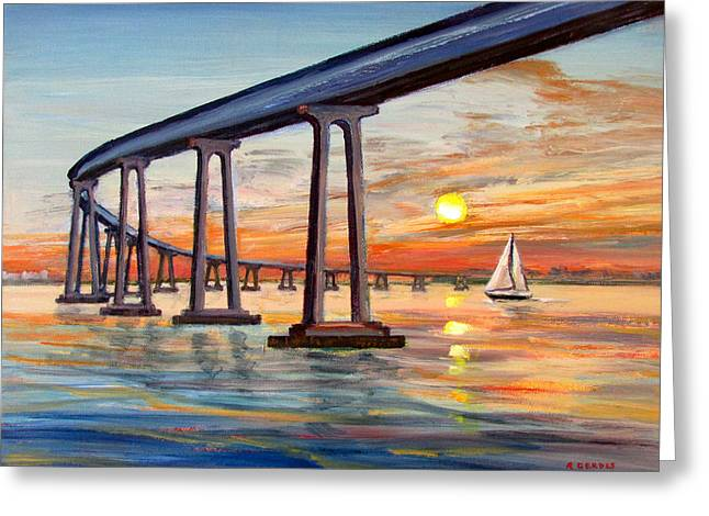 Impressionist Greeting Cards - Coronado Bridge Sunset with Sailboat Greeting Card by Robert Gerdes