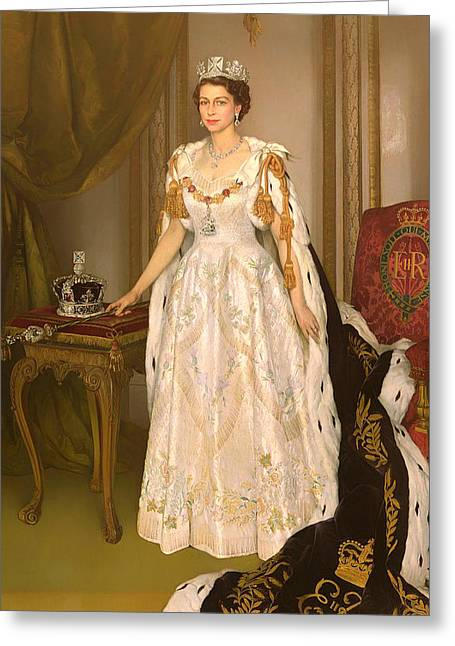 Scepter Greeting Cards - Coronation Portrait Of Queen Elizabeth Ii Of The United Kingdom Greeting Card by Herbert James Gunn