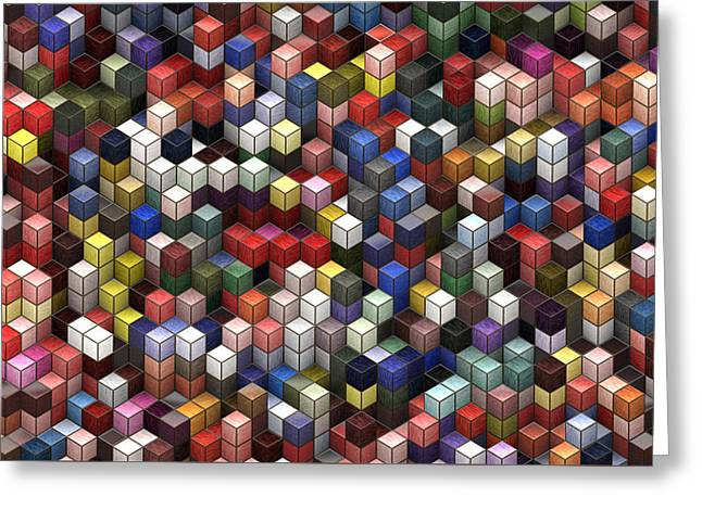 Cororful Cubes 2 Greeting Card by Jack Zulli