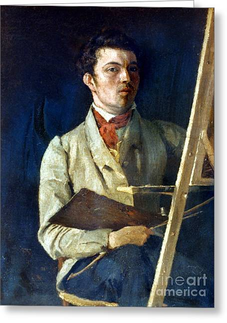 Self-portrait Photographs Greeting Cards - Corot With Easel, 1825 Greeting Card by Granger