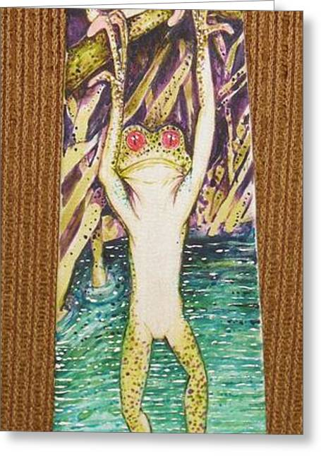 Amphibians Tapestries - Textiles Greeting Cards - Corporate Job Security Greeting Card by David Kelly