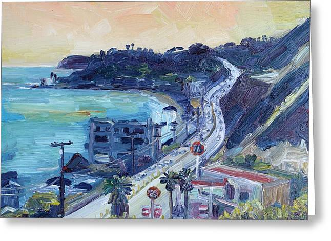 Pch Paintings Greeting Cards - Corral Canyon View Greeting Card by John Kilduff