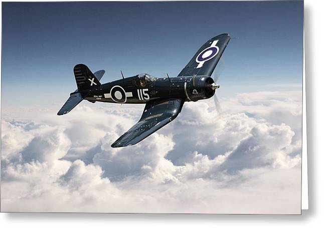Carrier Greeting Cards - Corsair F4U - Royal Navy Greeting Card by Pat Speirs