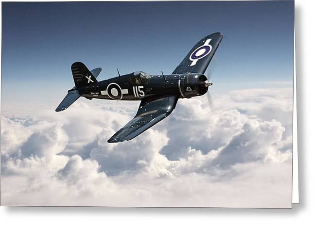Honour Greeting Cards - Corsair F4U - Royal Navy Greeting Card by Pat Speirs