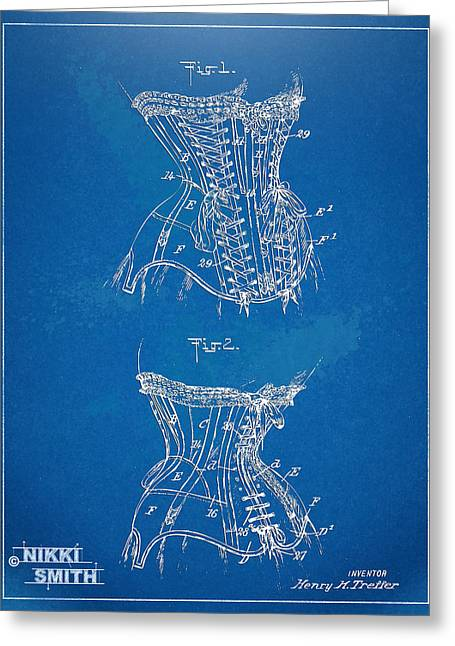 Fashionista Greeting Cards - Corset Patent Series 1908 Greeting Card by Nikki Marie Smith