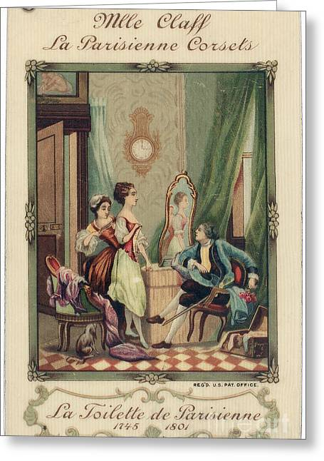 18th Century Greeting Cards - Corset Trade Card, 1912 Greeting Card by Granger