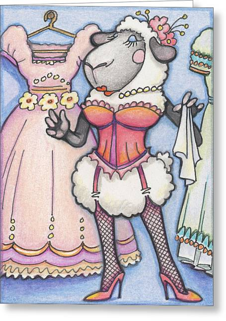 Corset Drawings Greeting Cards - Corsetted Sheep Greeting Card by Amy S Turner