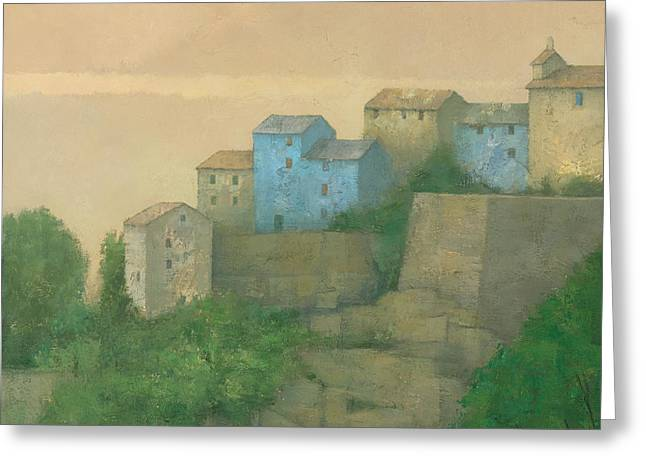 Townscape Greeting Cards - Corsican Hill Top Village Greeting Card by Steve Mitchell